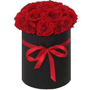 """Цветы в шляпной коробке Композиция """"Страсть"""""""