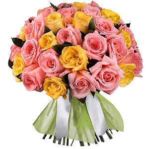 Букет из 61 розовых и желтых роз